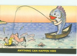 Linen Comic role reversal FISH IS FISHING FOR MAN AC6941