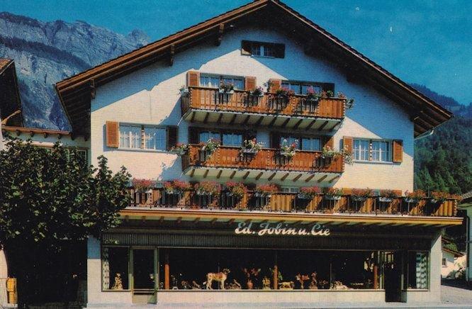 Ed Jobin Brienz Switzerland Wood Carvings Shop Swiss Postcard