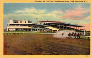Rhode Island Pawtucket Narragansett Race Track Rounding The First Turn Horse ...