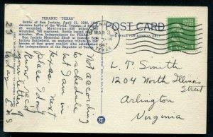 Texanic Texas tx 1836 San Jacinto to 1938 Mighty Empire airplane linen postcard