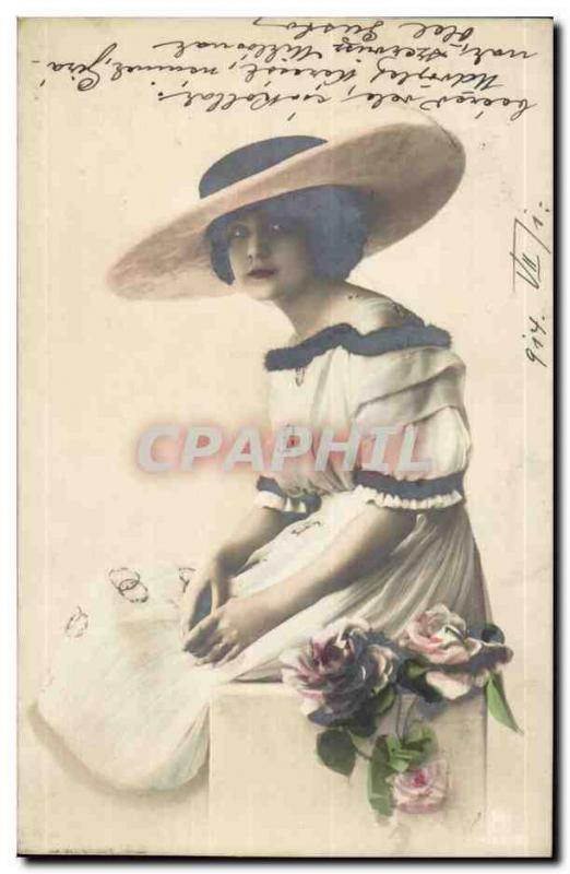 Fantaisie - Femme - Enchanting woman with broad hat (carte hongroise Hungary Hon