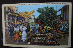 Olvera St. Los Angeles - typical of early L.A. - Western Publishing & Novelty Co