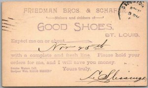 St. Louis, MO Advertising Postcard FRIEDMAN BROS. & SCHAFER Shoe Makers c1900s