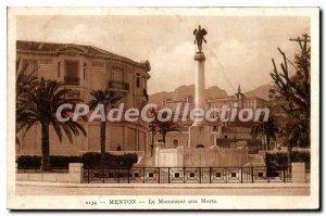 Old Postcard Menton Monument Aux Morts