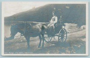 Norway Norge~Hardanger, Odda RPPC~Norwegian Mother & Son in Horse & Buggy c1910