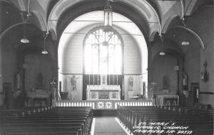 Fairfield Iowa~St Mary's Catholic Church Interior~1950s Real Photo Postcard~RPPC
