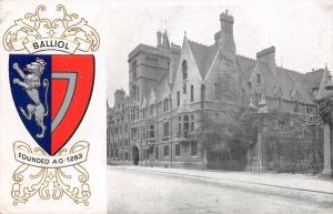 Oxford University~Balliol College Building~Coat Arms~Heraldic Series~Emboss~1907