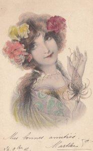 M.M.VIENNE : Woman, Art Nouveau Headdress Portrait #5 color , 1902