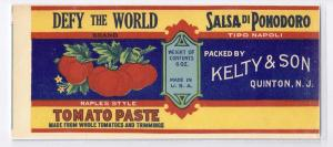 Defy The World Tomato Paste Can Label Quinton NJ Litho