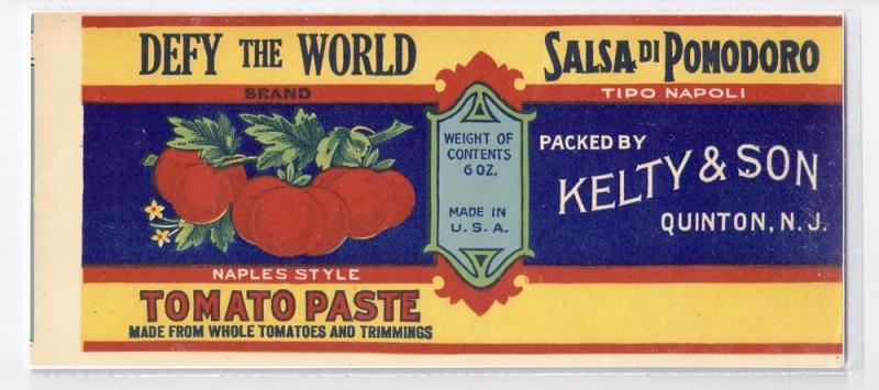 Defy The World Tomato Paste Can Label Quinton NJ Litho