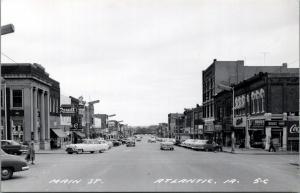 Atlantic IA~Main Street~JC Penney~Wards~Farmers Bank~Drug Store~Cars~1950s RPPC