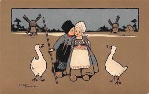 Children Kiss, Dutch Costumes, Goose, Windmill, Ethel Parkinson Signed