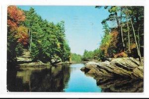 Wisconsin River The Narrows Upper Dells Vintage 1960 WI Postcard