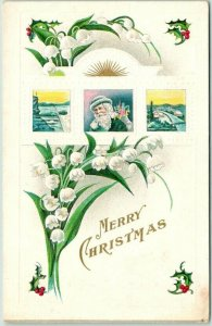 Vintage MERRY CHRISTMAS Postcard SANTA CLAUS at Window / BLUE SUIT - Dated 1915