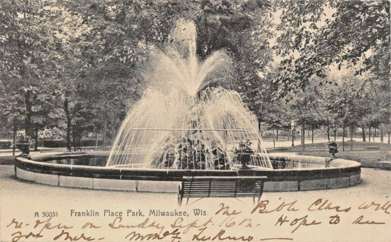 MILWAUKEE WISCONSIN~FRANKLIN PLACE PARK FOUNTAIN-ROTOGRAPH PHOTO 1906 POSTCARD