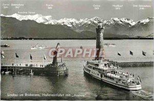 Modern Postcard Lindau im Bodensee Hafeneinfahrt put Austria Boat Lighthouse