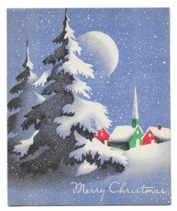 VINTAGE 1940s WWII ERA Christmas Greeting Card Art Deco MOON Village Snowy Pines