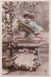 1er Avril April Fool's Day Young Woman Holding Fish