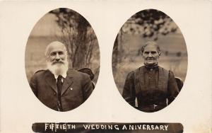 F21/ Interesting Photo RPPC Postcard c1910  50th Wedding Anniversary Man Beard 6