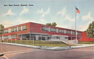 ARSONIA CONNECTICUT~NEW HIGH SCHOOL POSTCARD 1940s