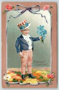 Patriotic Birthday~Little Uncle Sam Boy Brings Forget-Me-Nots Bouquet~RWB Suit
