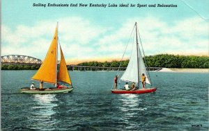 VTG Postcard Sailboats New Kentucky Lake TVA Tennessee Kentucky Unposted 234