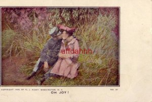 SOLDIER KISSING WOMAN ON CHEEK titled OH JOY! copyright by P.J. Plant 1906