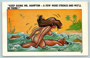 Postcard Risque Comic Nude Woman Using Man as a Raft A Few More Strokes QUIP Q16