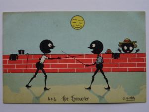 Duel ENCOUNTER Romance Black Stick People c1905 Postcard Artist C Griffith (4)