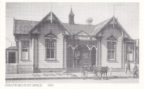 Stratford Post Office in 1905 Taranaki New Zealand Postcard