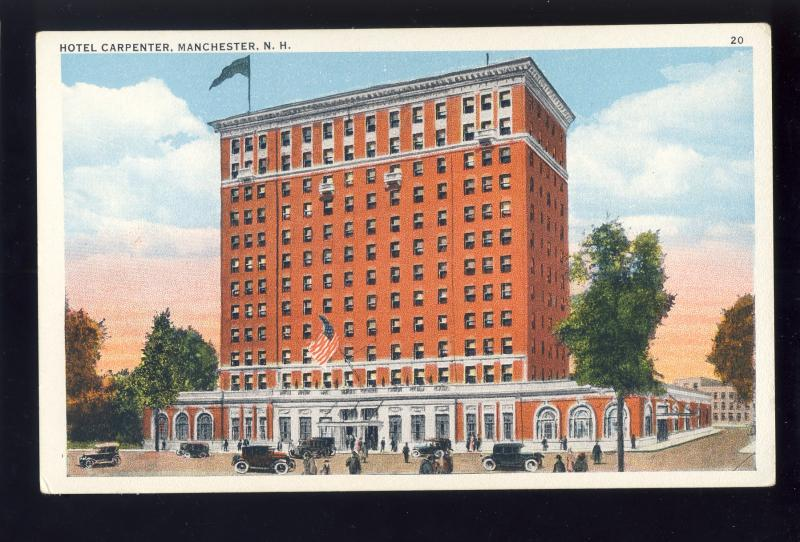 Manchester, New Hampshire/NH Postcard, Hotel Carpenter, Old Cars
