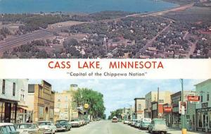 Cass Lake Minnesota Main Street and Birds Eye View Vintage Postcard JD933431