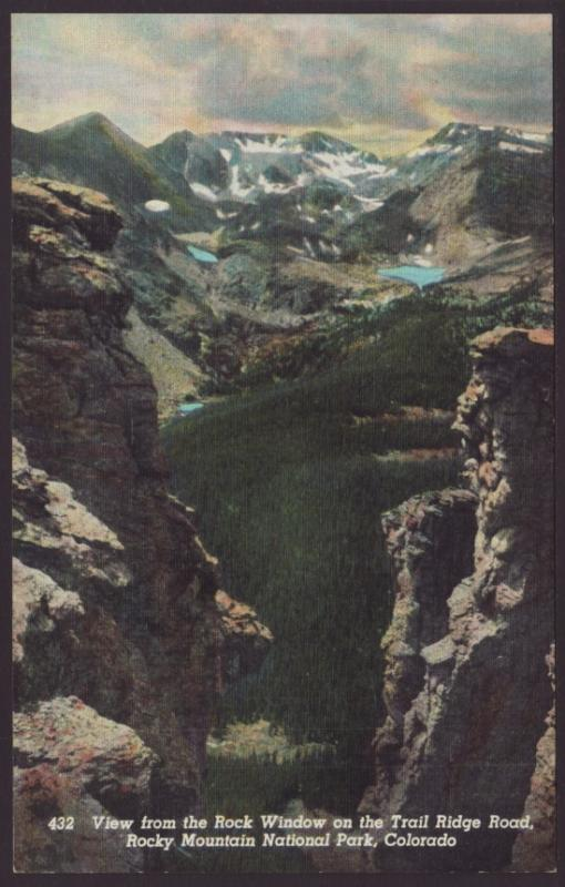 View From Rock Window,Rocky Mountain National Park Postcard