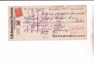 1933 Cheque, Estabrooks Red Rose Tea, St John New Brunswick, 1933, Stamped