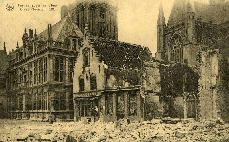 France - Furnes. WWI, 1918. Ruins at Grand Place