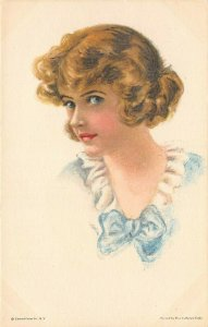 LP38   Artist Signed Fidler Postcard Pretty Woman American Girl #62 blue bow