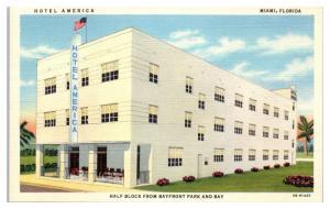 Mid-1900s Hotel America, Miami, FL Postcard