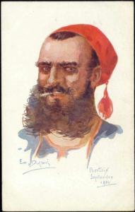 artist signed Dupuis, Belgium, BERTRIX, Smoking Soldier (1914) WWI