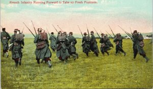 French Infantry Running Forward France Soldiers WW1 Military Postcard G37