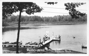 Hesperia Michigan~Boyts Landing @ Campbell Lake~People on Dock~1950s RPPC