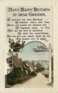 Dear Grandpa~Many Happy Returns~Health Fortune Signposts~Village~Rotary Series