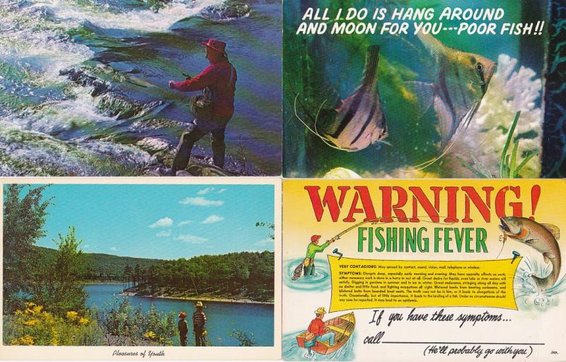 0257 Grabbag Auction 4 Fishing Related Postcards Starting At .99
