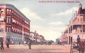 Phoenix Arizona~North on 1st Avenue~National Bank~Man in High Seat Wagon~1908 PC