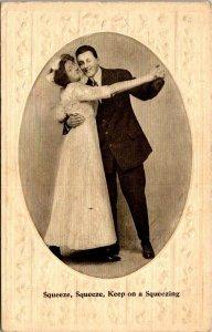VTG Postcard Valentine Keep On Squeezing Dancing Poem Embossed Unposted 1857