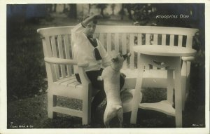 Crown Prince later King Olav V with Dog (1909) Norway Royalty RPPC Postcard