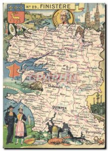 Postcard Old Map Finistere Folklore
