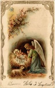 CPA Praying Angel with the Little Jesus and a Lamb ANGELS (777421)