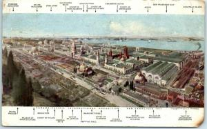 1915 PPIE San Francisco World's Fair Expo Postcard Grounds View Panorama Map