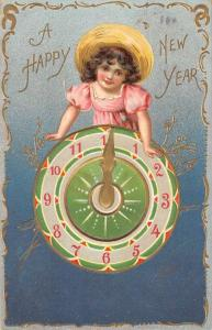 Happy New Year Girl With Clock Tuck Antique Postcard K78549