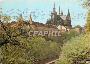Postcard Modern Praha Prague Castle seen from Plaisance Pavilion Queen Anne